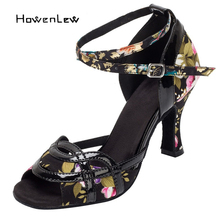 High Quality Women Latin Ballroom Salsa Dance Shoes Suede Leather Sole Dancing Shoes For Girls Woman Black Flower Fitness Shoes
