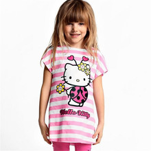 Baby Girls Summer Hello Kitty Clothing Set Girl Cotton Suit 2Pcs T-Shirt+Pants Girls Striped Sets 2017 New Arrival 15E
