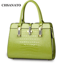High Quality Brand Design Women's Bag Tote Ladies Handbag Patent Leather Crocodile Embossed Pattern Women Messenger Bag