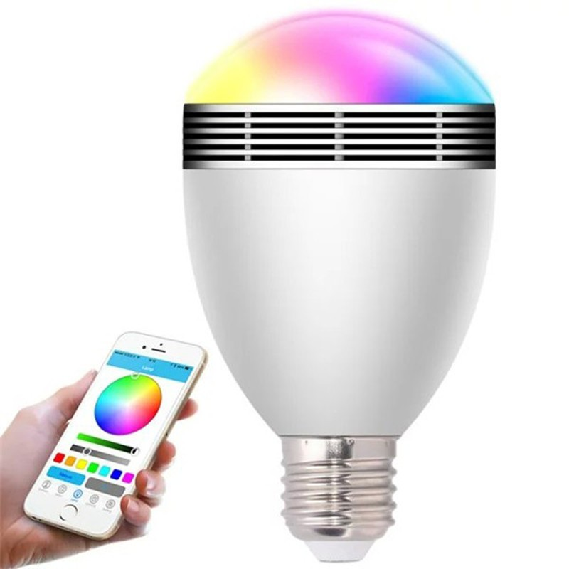 Changeable Color Wireless Bluetooth Speaker RGB Color Smart LED Light Bulb Remote Control LED Lamp Built-in Speaker controlled<br><br>Aliexpress