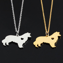 Border Collie dog Necklace for women jewelry 316 stainless steel Pet Puppy Dog Lover animal heart charms pendant collar bijoux