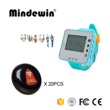 Mindewin New Restaurant Wireless Waiter Service Calling System 20PCS Table Call Buttons M-K-1 and 1PCS Watch Pager M-W-1(China)