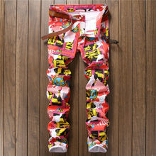 Red Blue Jeans Men Slim Fit Elastic Hipster Floral Printed Skinny Mens Jeans Brand Tights Denim Pencil Pants Jogger Male Trouser