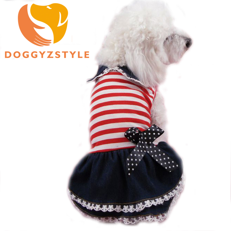 Stripe Jean Dress Clothes Goods For Pet Dog Puppy Cat Princess Dresses Summer Small Dogs Tutu Lace Short Shirt DOGGYZSTYLE(China)