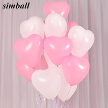 20pcs/lot 2.2g Romantic Lovely Red Heart Shaped Pearl Latex Balloons Wedding Birthday Party Decor Valentines Day Inflatable Ball(China)