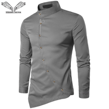 VISADA JAUNA 2018 New Men's Fashion Cotton Long Sleeved Shirt Solid Color Slim Fit Shirts Men Casual Irregular Man Dress N8931(China)