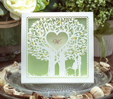 Hot Light Green Love Tree Wedding Invitation Card,Printable & Customizable,100pcs/lot,CW039