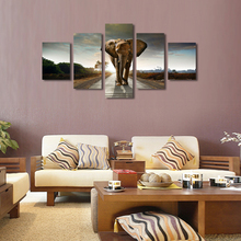 No Frame 5 Panels Elephant Canvas Painting Modern Wall Pictures For Living Room Home Decor Oil Cuadros Artwork Modular Pictures