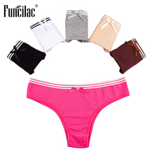 Buy FUNCILAC Briefs Women Lingerie Solid Underwear Women Sexy Ladies Panties Girls Cotton Underpants Female Underwear 5Pcs/Lot
