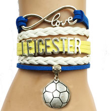 Drop Shipping Infinity Love Leicester Soccer Bracelet-UK City Name Football Club Handmade Leather Friendship Club Gift(China)