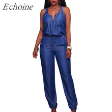 Echoine 2017 New Jeans Jumpsuit Denim Rompers Sleeveless Casual Loose Long Body Suits for Women Summer One Piece Pants Overalls