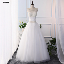 Large quantity pearls china bridal gowns white illusion neckline cheap wedding dresses imported china online store ball gown