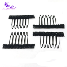 Lowest Price Steel Tooth Black Color 6-Teeth 100Pcs/Lot Lace Net Snap Clips For Hair Extensions Wig Combs Clips Wig Accessories