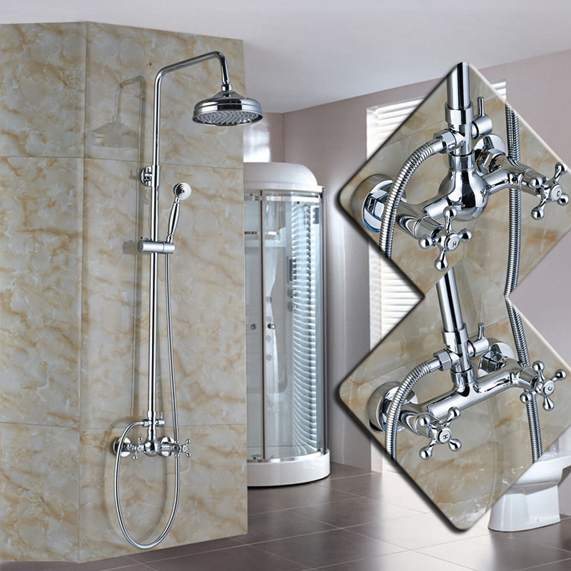Chrome Finished Wall Mounted Bath &amp; Shower Faucets Dual Handles Height Adjustable 8 Inch Rainfall Shower Head Mixer Taps<br><br>Aliexpress