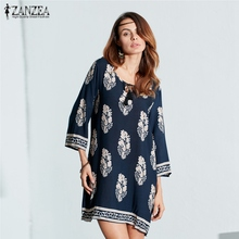 2017 ZANZEA Women Sexy Mini Print Dress Elegant Retro 3/4 Sleeve Lace Up Long Tops Casual Loose Beach Dresses Vestidos Oversized