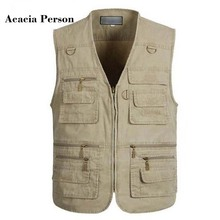 2018 Men's Clothing Fashion Casual Waistcoats Military Vest Jackets High Quality Loose Cotton Tops gilet Vests Many Pockets(China)