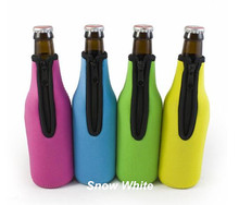 Blue ,Yellow,Pink And Green Beer Bottle Holders Neoprene With Zipper , Free shipping(China)