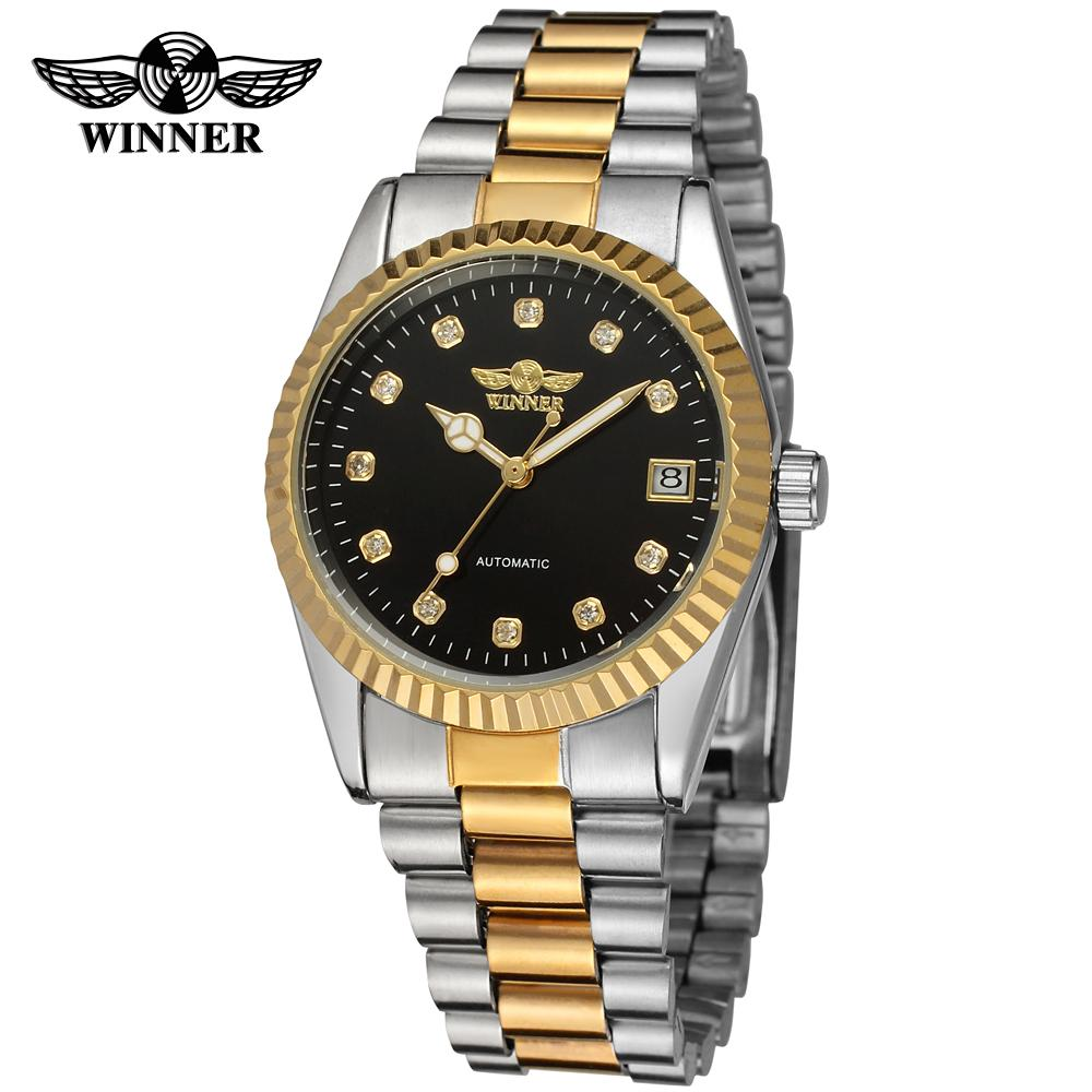 WINNER Mens Watch High-grade Stainless Steel Bracelet Brand Automatic Calendar Ananlog Dress Wristwatch Color Gold WRG8038M4<br>