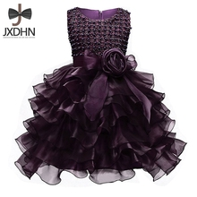 Formal Wear Children's Ball Clothing Puffy Baptism Girls Dress for Kids Birthday Party infants kids Vestidos for Wedding bridal(China)