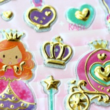 Cinderella Crystal Shoes Pumpkin Car Princess Scrapbooking Shiny Sparkle Undulate Stickers Emoji Reward Kids Children Toys(China)
