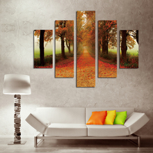 Unframed Canvas Painting Maple Leaf Avenue Landscape Modular Picture Top-rated Cuadros Decor Hot Wall Pictures For Living Room(China)