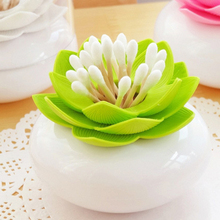 2017 Popular Lotus Flower Holder Toothpick Case Cotton Swab Bud Storage Box home decor Pink/Green