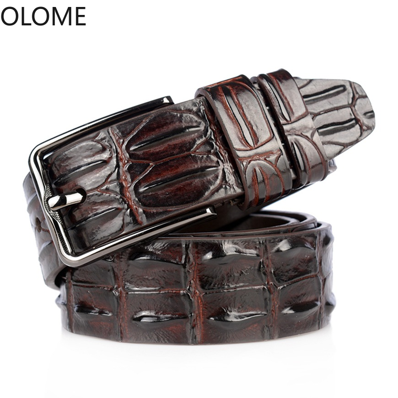 OLOME Luxury Cow Genuine Leather Belt Male Crocodile Pattern Strap Male Belts for Men New Pin Buckle Men Belt High Quality