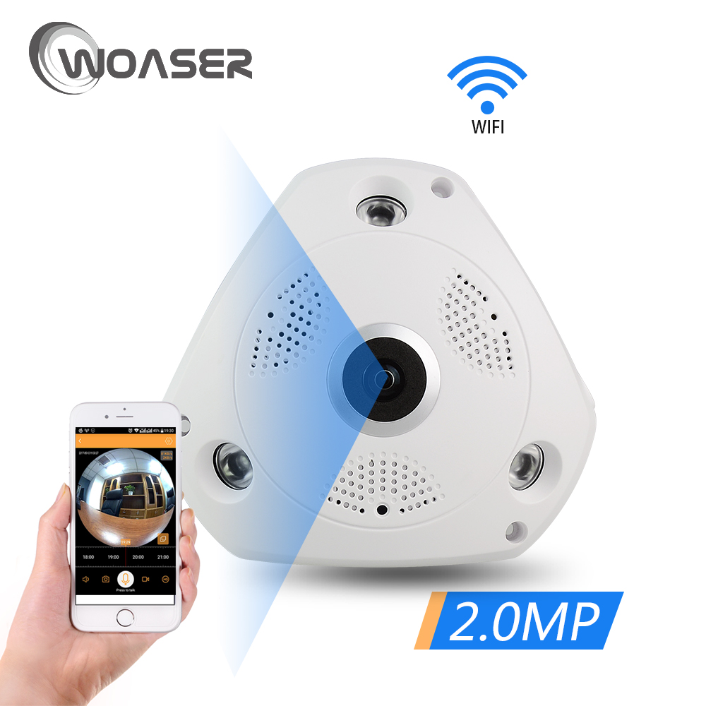 WOASER 2.0MP FishEye IP Camera 360 degree Full View CCTV Camera 1080P 1.44MM Lens Network Home Security WiFi Camera Panoramic <br>