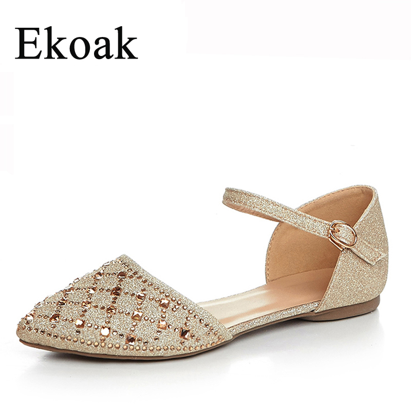 Ekoak Size 34-42 Women Sandals New 2017 Spring Summer Party Dress Shoes Ladies Fashion Sexy Rhinestone Flat Shoes Woman Flats<br><br>Aliexpress
