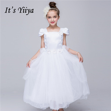 It's YiiYa White Orange Short Straight-Neckline Lace Floor-Length Kids Princess Flower Girls Dress Ball Gown Party TS159