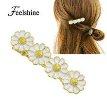 New Hair Jewelry  Gold-Color with White Purple Enamel Flower Hairgrips Barrettes Hairwear Hair Accessories for Women