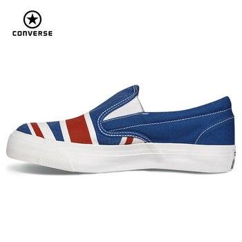 Original converse all star zapatos bajos zapatillas de deporte zapatos de lona de la bandera de estados unidos y gran bretaña las mujeres de skate envío libre