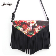 Fringed Purse Fashion Tassel Female Leather Handbags 3D Printed Flowers Shoulder Bags Ladies Messenger Bags Women's Bags Clutch(China)