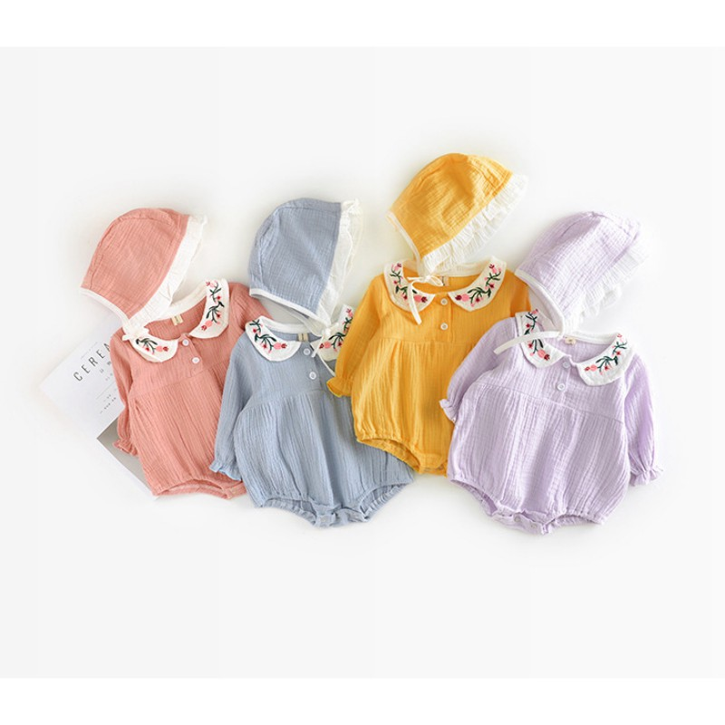 2018Baby Cute Embroidery Newborn Girl Bodysuit Infant cotton jumpsuit Hats Long Sleeve Toddler Kids Clothing Sets(China)
