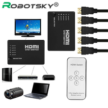 Robotsky 5 Port Video HDMI Switch Switcher Splitter IR Remote for HDTV PS3 Xbox 360 DVD 1080P(China)