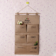 Creative flax hanging bag Wall/Door/Closet Hanging organizer Natural Health Storage bag(China)