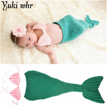 2017 Baby Crochet Newborn Hat Winter Hat Knit Cap Photography Accessories Baby Child Baby Infant Mermaid Costume For Children