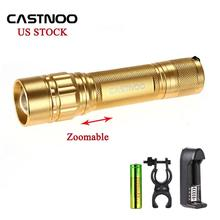Castnoo 5000 LM Zoom CREE LED Tactical Flashlight Torch+18650 Battery+Charger(China)