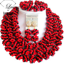 Laanc Red and Black Costume Jewelry African Wedding Beads Nigerian Jewellery Set AL362(China)
