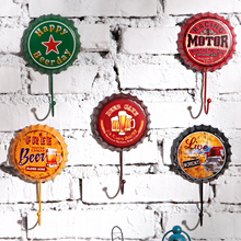 Free Shipping! 3pcs/lot Beer Cap Shape Round Vintage Style Metal Hook Wall Hanger Decorative Coat & Hat Hook Home & Pub Deco
