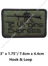 72 VIRGINS EXPRESS OD MOVIE TV COMBAT TACTICAL BADGE  Hook & Loop Patches Embroidered MORALE MILSPEC MILITARY SWAT Outdoor