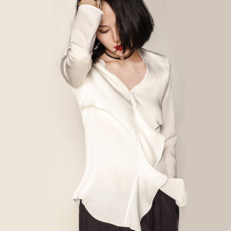 High Quality 100% Silk Blouse Women Shirt Solid V-Neck Ruffles Long Sleeves Casual Tops Elegant Style 2017 New Fashion