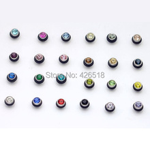 24 colors for choose 4mm Width Black Circle Austrian crystal titanium dumbbell Men Women stud earrings