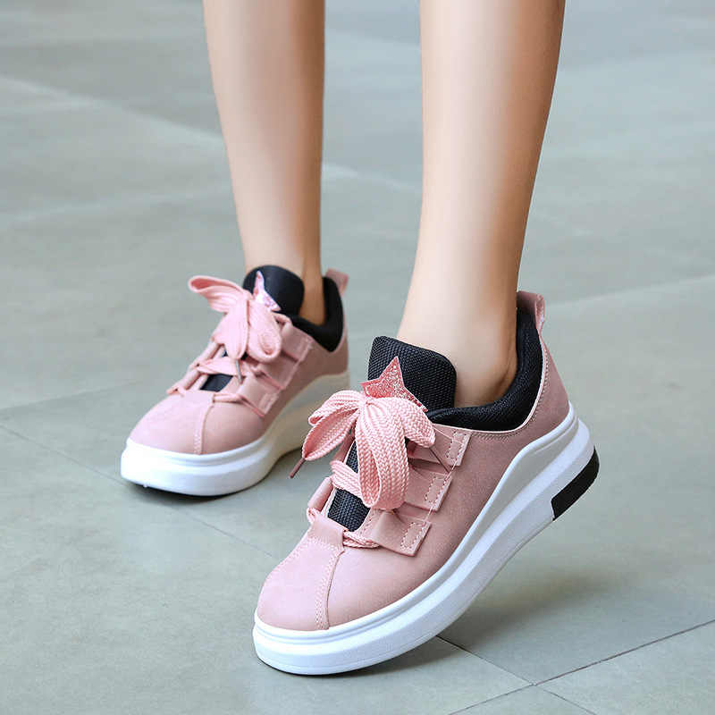 Vulcanized Shoes Sneakers Women Tenis Feminino Platform Shoes Lace Up Casual  Trainers Breathable Flats Zapatillas Girls 581647424de8