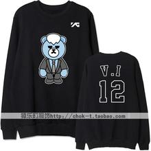 Fashion kpop bigbang bae bae little bear/member name printing hoodie vips supportive  pullover sweatshirt for spring