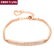 Top Quality CZ Micro Pave Chain Rose Gold Color Bracelet Jewelry Made with Austrian Crystal Wholesale ZYH172(China)