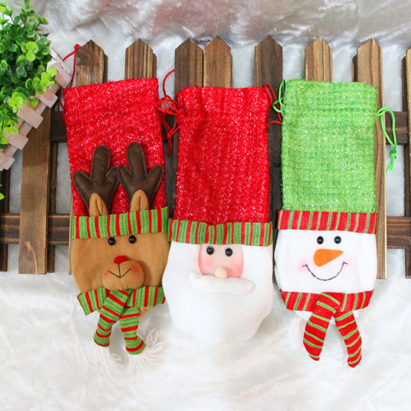 1 Set Santa Claus Snowman Elk Style Red Wine Champagne Decorative Packing Christmas Party Wine Non-woven Packing Bags(China (Mainland))