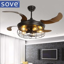 42 inch Edison light bulb Village Folding Ceiling Fans With Lights Classical Loft Living Room Industrial Ceiling Light Fan Lamp