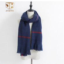 joejerry Wide Tassel Blue Scarf Plaid Scottish Scarves Winter Long Warm Imitation Cashmere Scarf For women 2017
