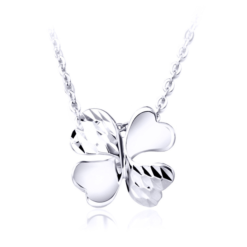 Lucky Platinum Four-Leaf Clover Pendant for Women Female PT950 White True Solid Gold Charm Necklace Girl Gift Wedding Jewelry